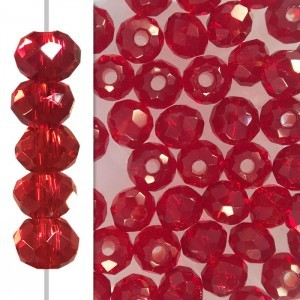 2x3mm Siam Puffy Rondelles Celebrity Crystals - 50 Beads Strand