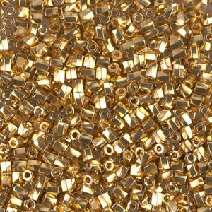 10/0 Cut Twisted 24kt Gold Plated 50 Grams Miyuki® Beads (Rough Estimate 3600 Pcs)