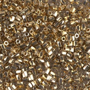 10/0 Cut Twisted 24kt Gold Light Plated 50 Grams Miyuki® Beads (Rough Estimate 3600 Pcs)