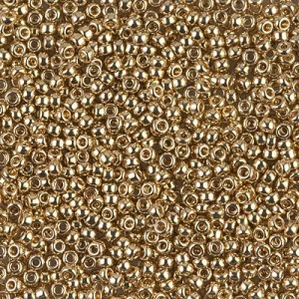 11/0 24kt Gold Light Plated (Like Db 34) 50 Grams Miyuki® Beads (Rough Estimate 5500 Pcs)