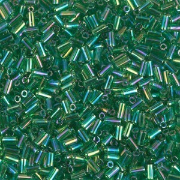 Bugle 1(3mm) Transp Green AB 250 Grams Miyuki® Beads (Rough Estimate 20700 Pcs)