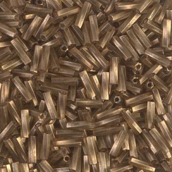 2.0x6mm Twisted Bugle Gold Antiqued Matte Transp Chartreuse 250 Grams Miyuki® Beads (Rough Estimate 7800 Pcs)
