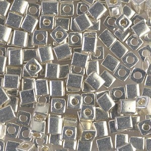 4x4mm Cube Galv Silver 250 Grams Miyuki® Beads (Rough Estimate 2600 Pcs)