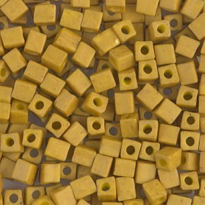 4x4mm Cube Matte Opaque Mustard 250 Grams Miyuki® Beads (Rough Estimate 2600 Pcs)