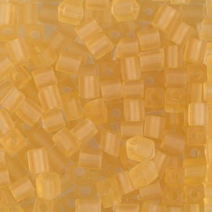 4x4mm Cube Matte Transp Lt Topaz 250 Grams Miyuki® Beads (Rough Estimate 2600 Pcs)