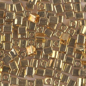4x4mm Cube 24kt Gold Plated (Like Db 31) 50 Grams Miyuki® Beads (Rough Estimate 500 Pcs)