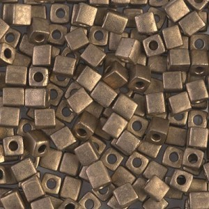 4x4mm Cube Matte Metallic Dark Bronze (Like Db 322) 250 Grams Miyuki® Beads (Rough Estimate 2600 Pcs)