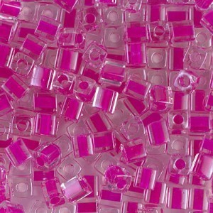 4x4mm Cube Fuchsia Lined Crystal 250 Grams Miyuki® Beads (Rough Estimate 2600 Pcs)