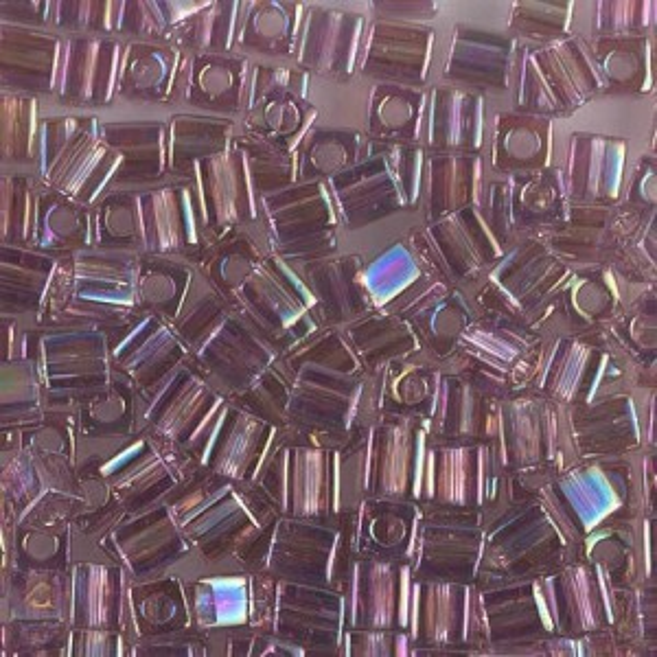 4x4mm Cube Transp Smoky Amethyst AB 250 Grams Miyuki® Beads (Rough Estimate 2600 Pcs)
