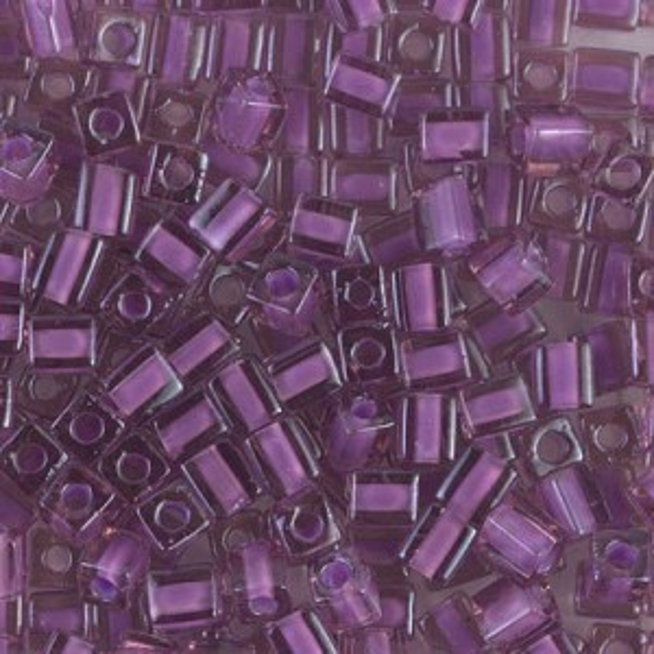 4x4mm Cube Lilac Lined Amethyst 250 Grams Miyuki® Beads (Rough Estimate 2600 Pcs)