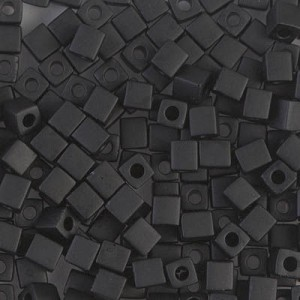 4x4mm Cube Matte Black 250 Grams Miyuki® Beads (Rough Estimate 2600 Pcs)