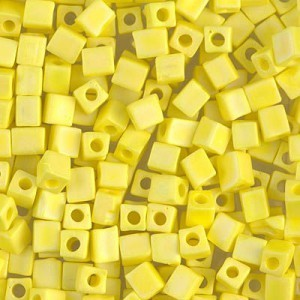 4x4mm Cube Matte Opaque Yellow AB 250 Grams Miyuki® Beads (Rough Estimate 2600 Pcs)