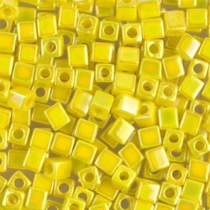 4x4mm Cube Opaque Yellow AB 250 Grams Miyuki® Beads (Rough Estimate 2600 Pcs)