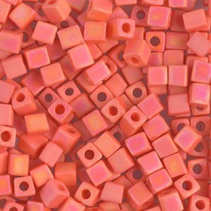4x4mm Cube Matte Opaque Orange AB 250 Grams Miyuki® Beads (Rough Estimate 2600 Pcs)