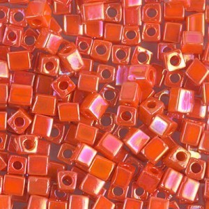 4x4mm Cube Opaque Orange AB 250 Grams Miyuki® Beads (Rough Estimate 2600 Pcs)