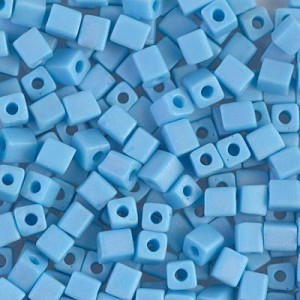 4x4mm Cube Matte Opaque Turquoise Blue AB 250 Grams Miyuki® Beads (Rough Estimate 2600 Pcs)