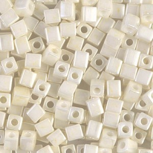 4x4mm Cube Cream Ceylon 250 Grams Miyuki® Beads (Rough Estimate 2600 Pcs)