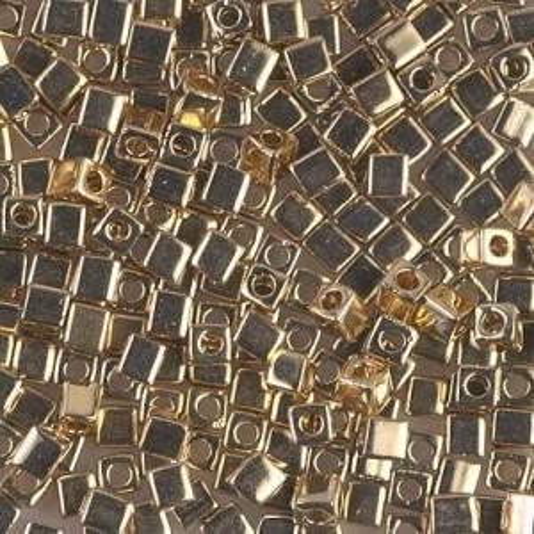 3x3mm Cube 24kt Gold Light Plated (Like Db 34) 50 Grams Miyuki® Beads (Rough Estimate 1040 Pcs)
