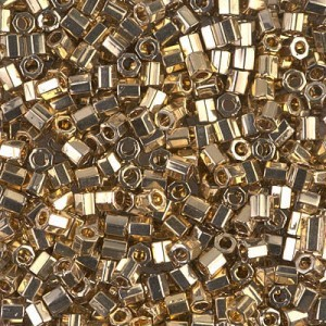 Delica 24kt Gold Light Plated Cut 8/0 50 Grams Miyuki® Beads (Rough Estimate 1800 Pcs)