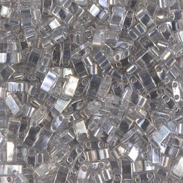 Transparent Silver Gray Gold Luster Miyuki® Half Tila 100 grams (Rough Estimate 2500 Pcs)