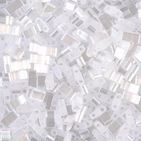 Crystal Silk Satin Luster Miyuki® Half Tila 100 grams (Rough Estimate 2500 Pcs)