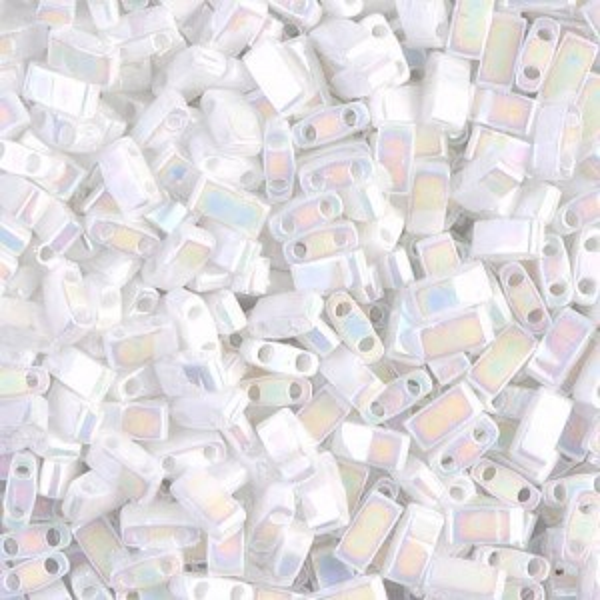 White Pearl AB Miyuki® Half Tila 100 Grams