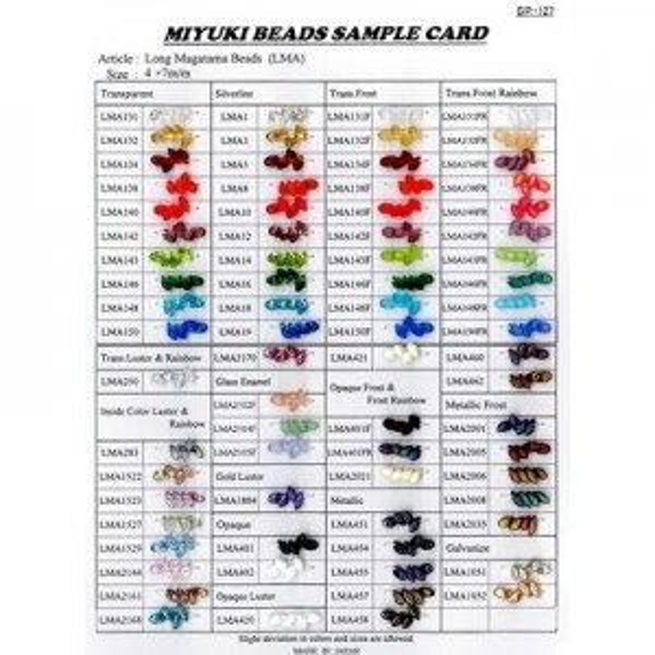 Long Magatama Sample Card (2009) Miyuki® Beads