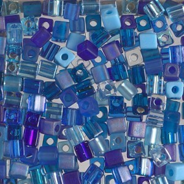 4x4mm Cube Mix - Blueberry Pie 250 Grams Miyuki® Beads (Rough Estimate 2600 Pcs)