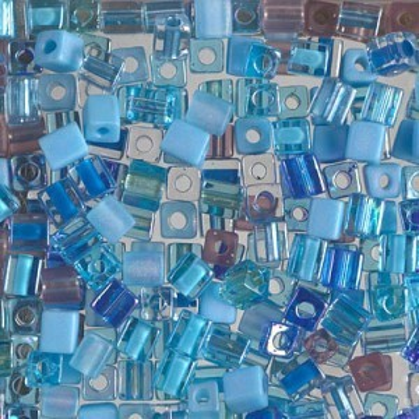 4x4mm Cube Mix - Aqua Shimmer ( Includes Some Sb3s ) 250 Grams Miyuki® Beads (Rough Estimate 2600 Pcs)