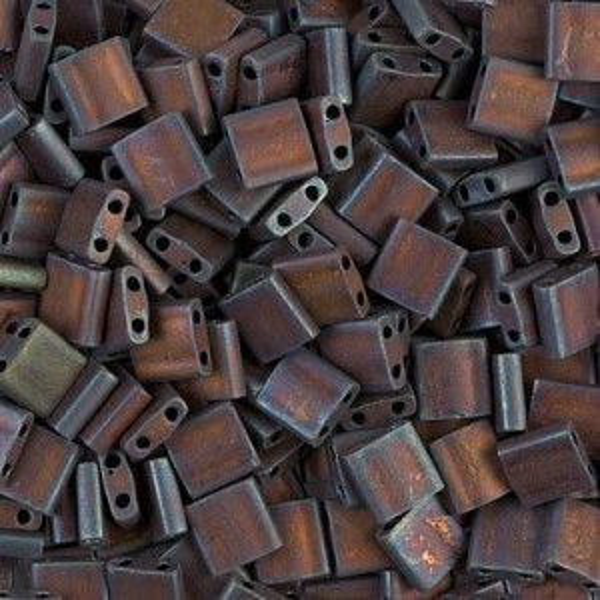 Tila 5x5x1.9mm Matte Met Dark Raspberry Iris Miyuki® Beads 100 Grams (Apx 1180 Pcs)