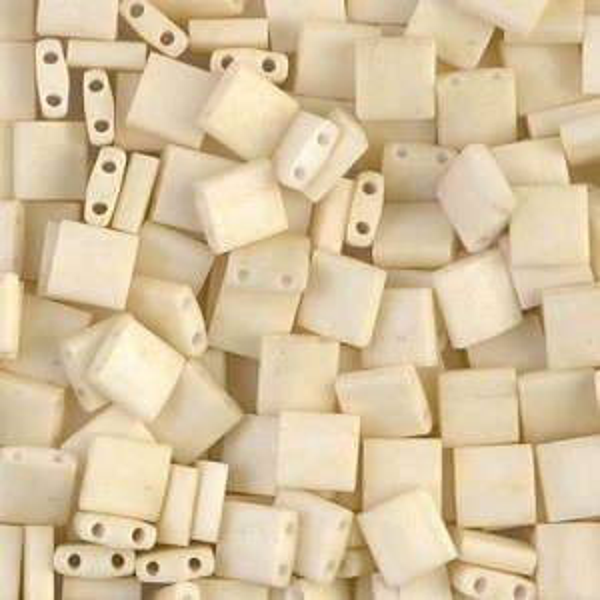 Matte Op Cream Miyuki® Tila 5x5x1.9mm Bead 100 Grams Miyuki® Beads (Rough Estimate 1180 Pcs)