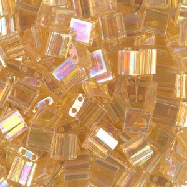 Tr Lt Topaz AB Miyuki® Tila 5x5x1.9mm Bead 100 Grams Miyuki® Beads (Rough Estimate 1180 Pcs)