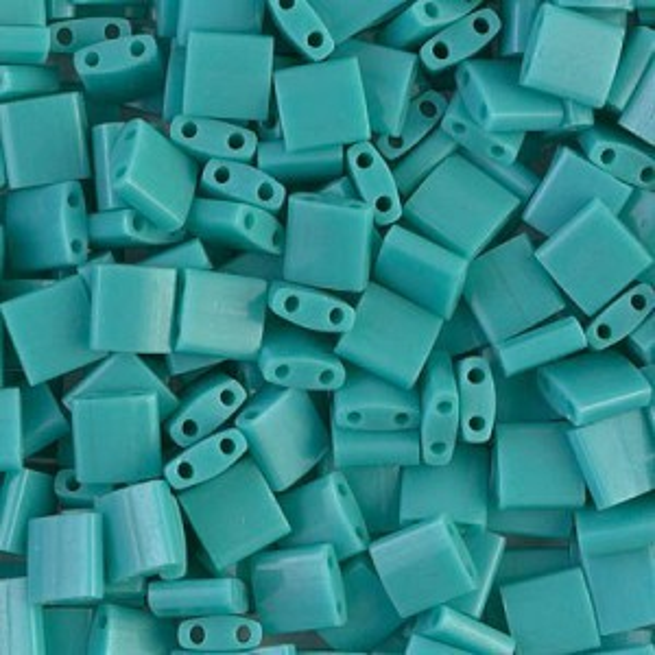 Op Turquoise Green Miyuki® Tila 5x5x1.9mm Bead 100 Grams Miyuki® Beads (Rough Estimate 1180 Pcs)