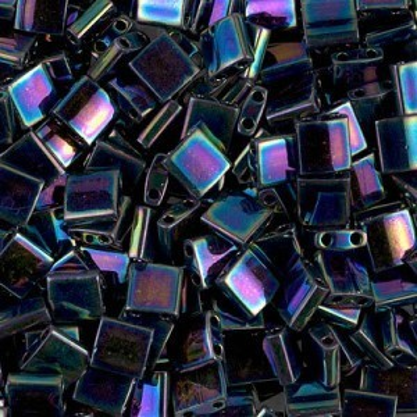 Tila 5x5x1.9mm Met Variegated Blue Iris Miyuki® Beads 100 Grams (Apx 1180 Pcs)
