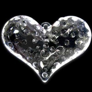 43x56mm Dimpled Heart Crystal Acrylic Pendant