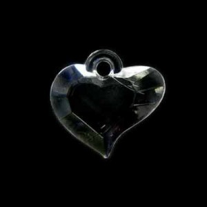 18x19mm Beveled Heart Crystal Acrylic Pendant
