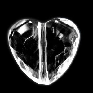 23x25mm Faceted Heart Crystal Acrylic Bead