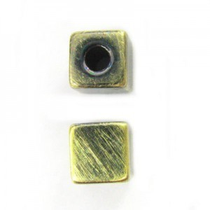 8mm Large Hole Cube Brushed Satin Brass