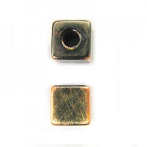 8mm Large Hole Cube Brushed Satin Copper