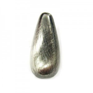 23x11mm Teardrop Brushed Satin Silver