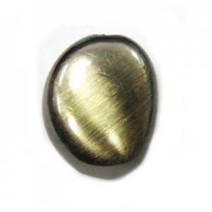 24x19mm Flat Oval Bead Brushed Satin Brass