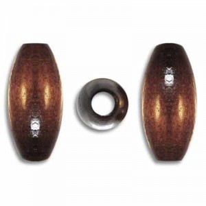 20x9mm Wood Oval Bead Dark Brown