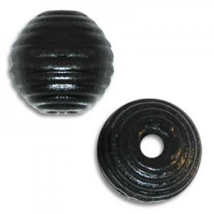 13mm Ribbed Round Wood Bead Black