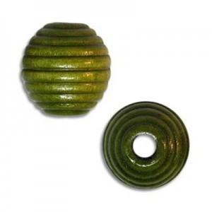 13mm Ribbed Round Wood Bead Green