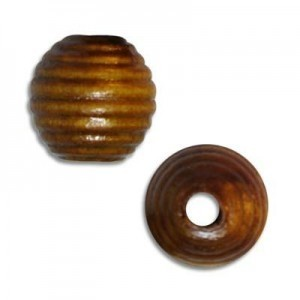 13mm Ribbed Round Wood Bead Light Brown