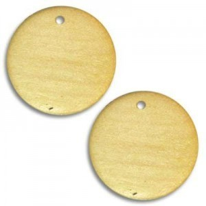 25mm Flat Wood Pendant Disc Natural