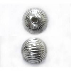 9mm Round Onion Bead Bright Silver