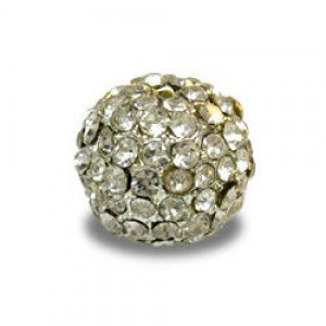 12mm Crystal on Silver Plate Pave Ball