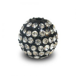 14mm Crystal on Black Plate Pave Ball