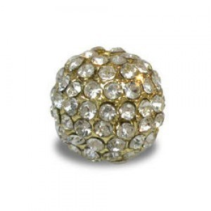 14mm Crystal on Gold Plate Pave Ball